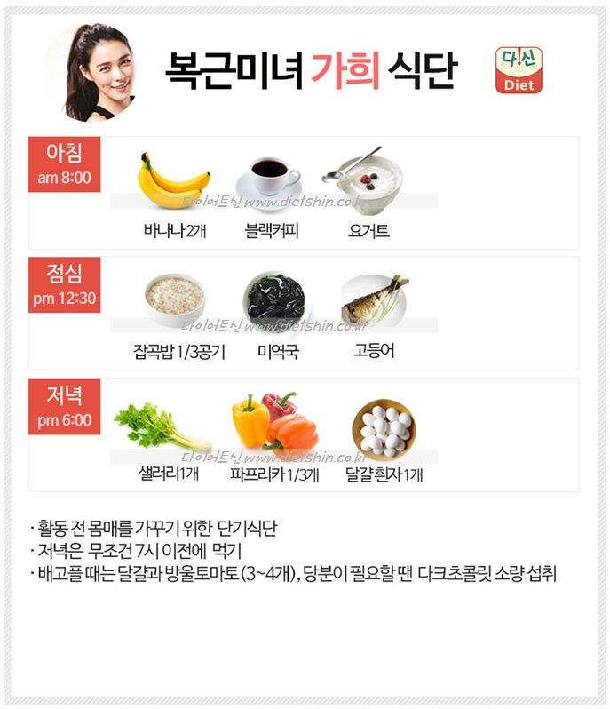 가희 식단표 (본격 다이어트를 위한 단기 식단)