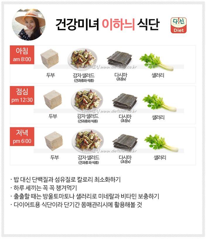 이하늬 식단표 (채식주의자를 위한 다이어트 식단)