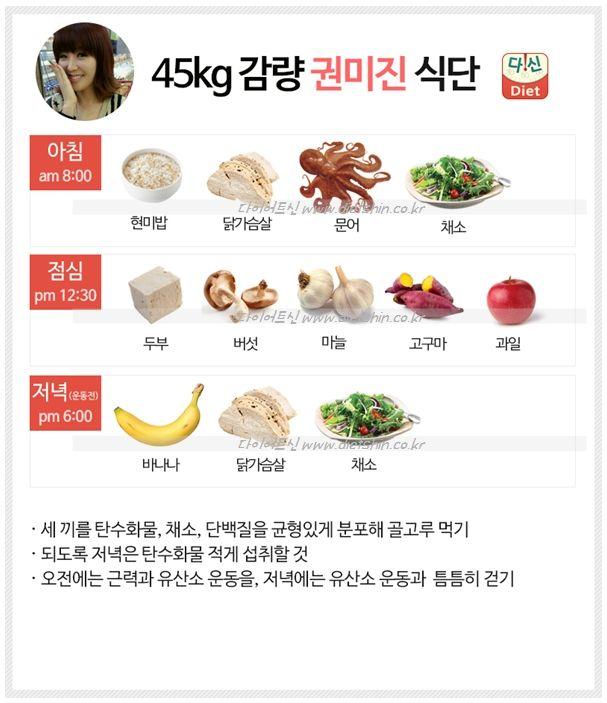 헬스걸 권미진 식단표 (45kg 감량 균형잡힌 식단)