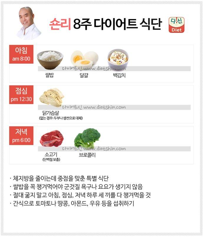 숀리 8주 다이어트 식단표 (체지방 감량 식단)
