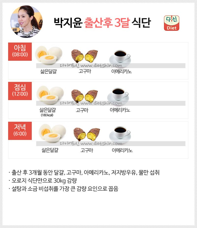 욕망아줌마 박지윤 식단표 (출산후 30kg 감량)