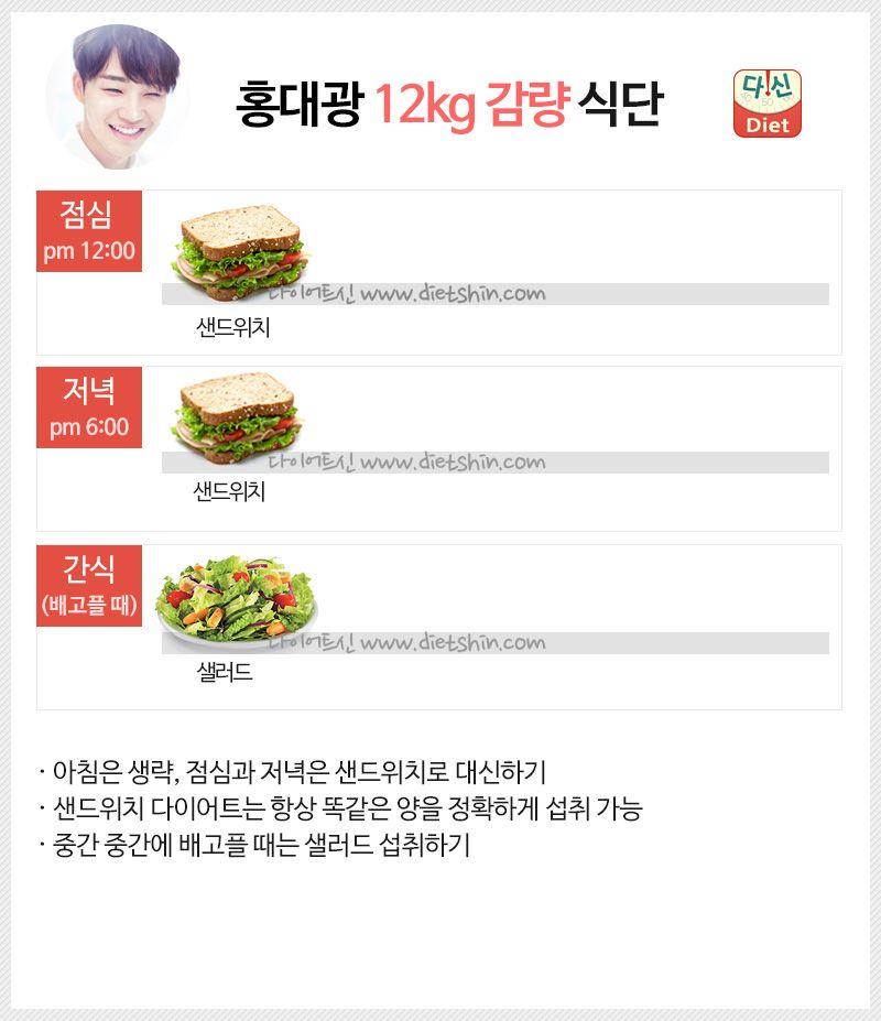 홍대광 다이어트 식단표 (샌드위치 식단)